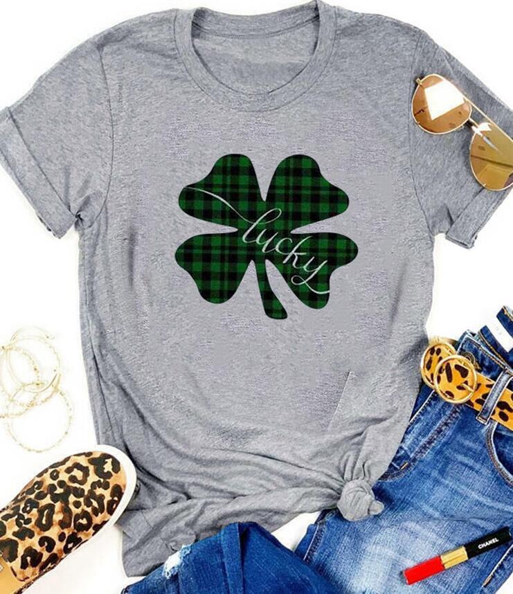 St Patrick's day T-shirt Green Plaid stripe